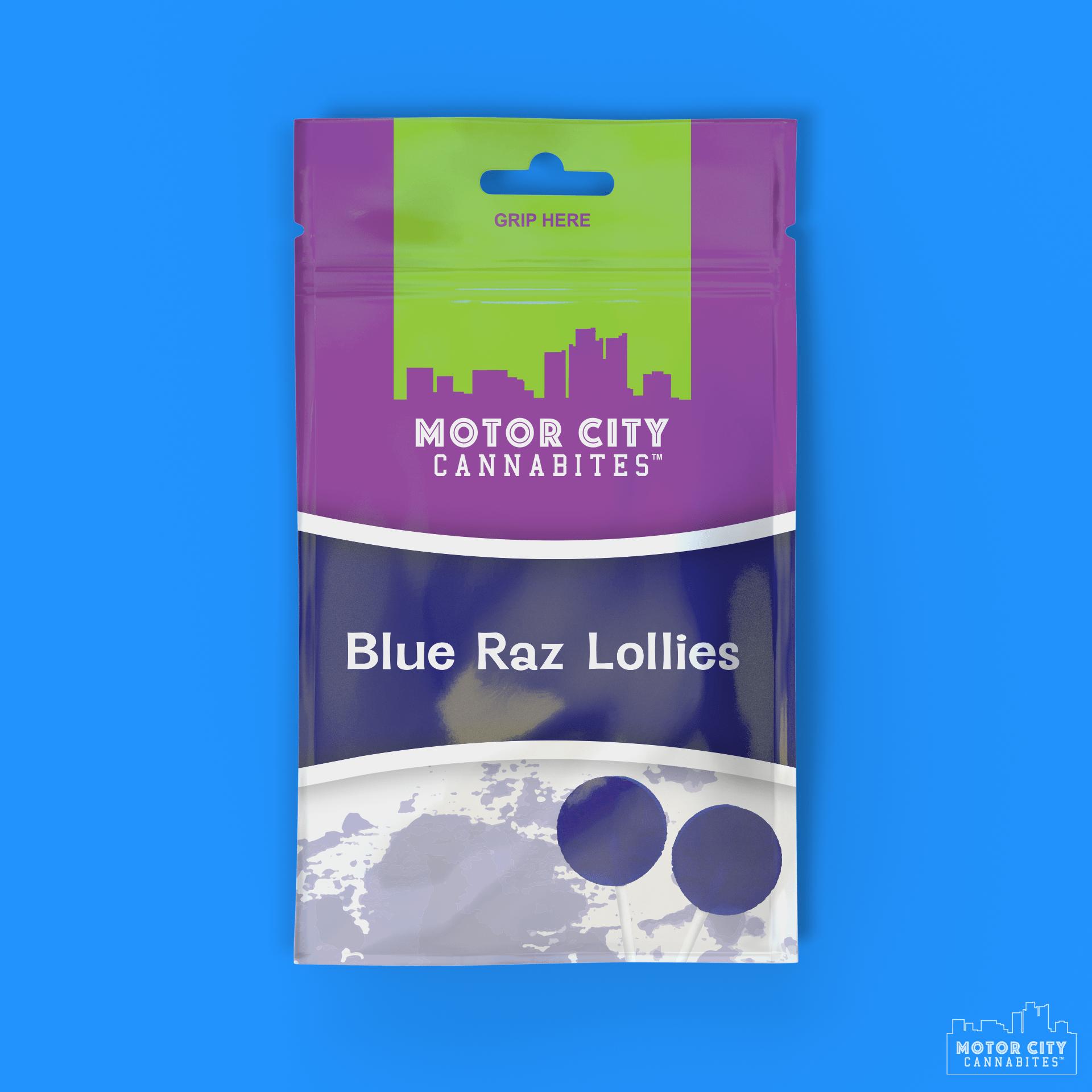 Blue Raz Lollipop Cannabis Edible - Motor City Cannabites
